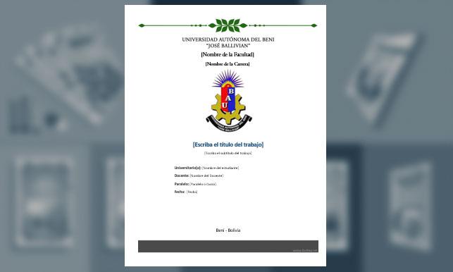 "Carátula, Universidad Autónoma del Beni ""José Ballivian"" (2)"