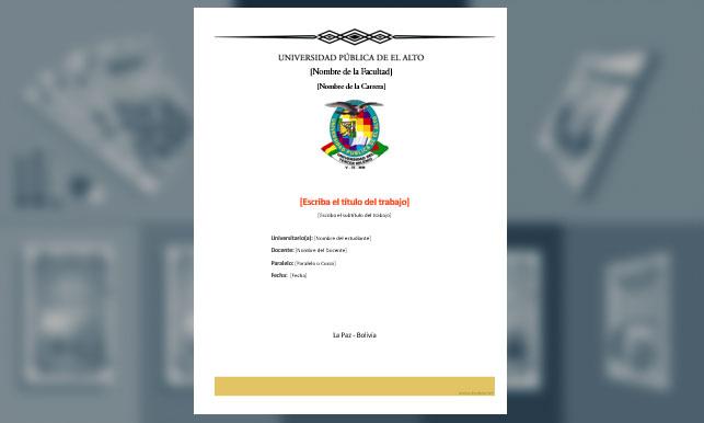 Carátula, Universidad Pública de El Alto (UPEA) 2