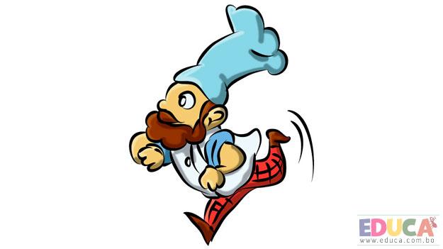 Dibujo de cocinero corriendo, en apuros