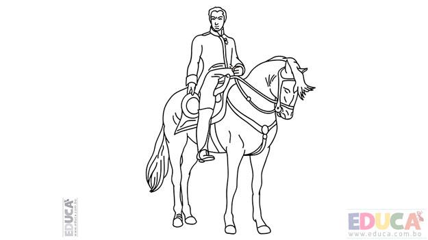 Dibujo del Libertador Simón Bolívar para pintar o colorear