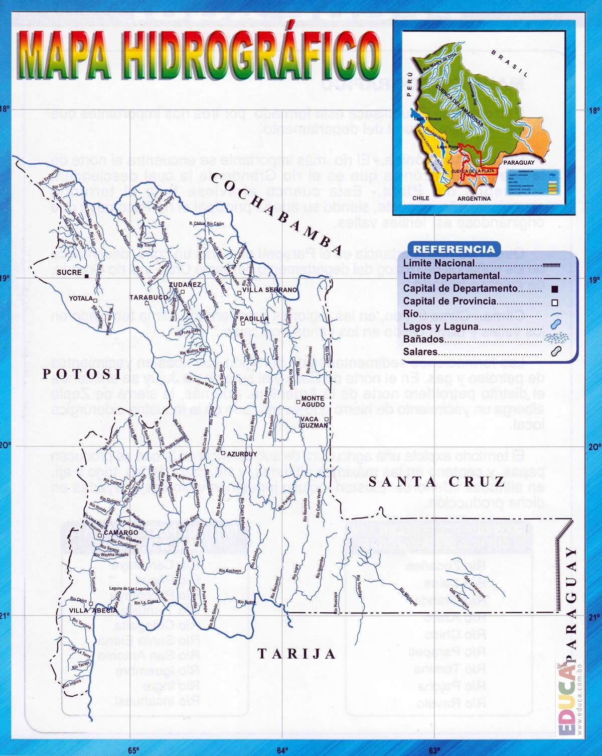 Mapa hidrogrfico de Chuquisaca  Departamento de Chuquisaca
