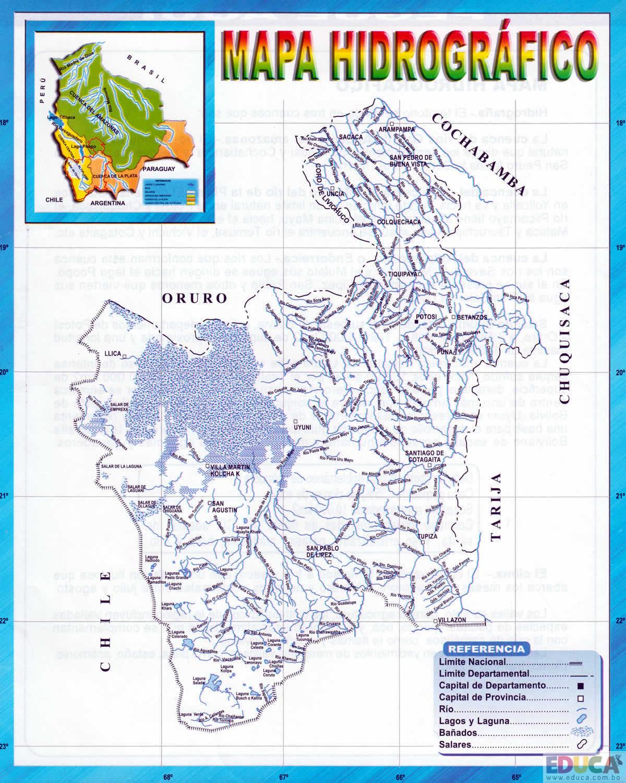 Mapa hidrogrfico de Potos  Departamento de Potos  Historia