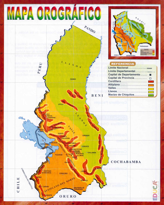 Mapa Orográfico De La Paz Departamento De La Paz Historia