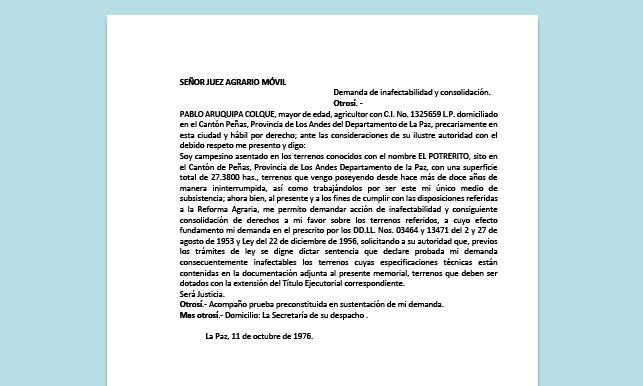 Formato de Memorial - Demanda de inafectabilidad y consolidación - Carrera de Derecho