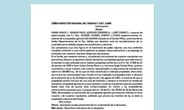Formato de Memorial - Intervención (propiedad agrícola) - Carrera de Derecho