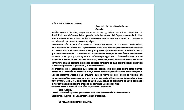 Formato de Memorial - Demanda de dotación de tierras - Carrera de Derecho
