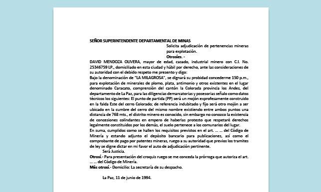 Formato de Memorial - Adjudicación de pertenencias mineras para explotación - Carrera de Derecho