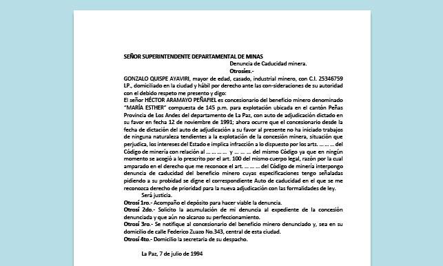 Formato de Memorial - Denuncia de Caducidad minera - Carrera de Derecho