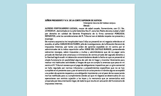 Formato de Memorial - Interponer Recurso de habeas corpus - Carrera de Derecho