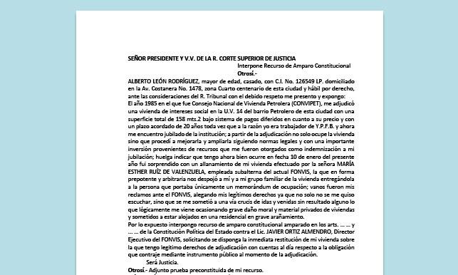 Formato de Memorial - Interponer Recurso de Amparo Constitucional - Carrera de Derecho