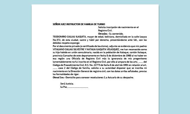 Formato de Memorial - Inscripción de nacimiento en el Registro Civil - Carrera de Derecho