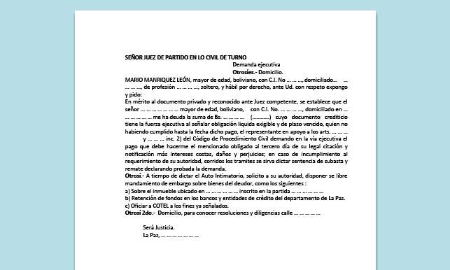 Formato de Memorial - Demanda ejecutiva - Carrera de Derecho