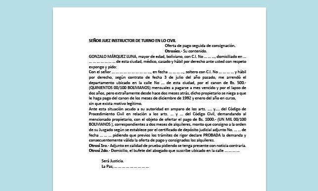 Formato de Memorial - Oferta de pago seguida de consignación - Carrera de Derecho