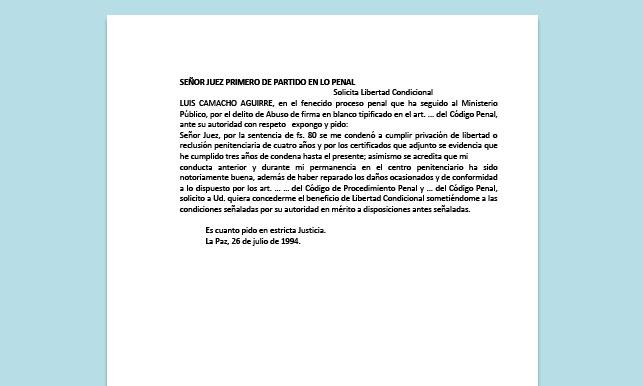 Formato de Memorial - Solicitud de Libertad Condicional - Carrera de Derecho