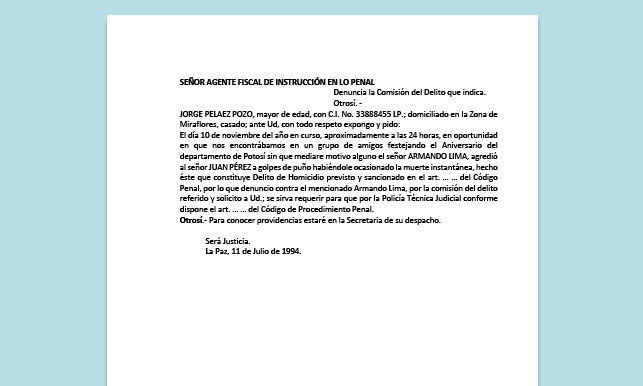 Formato de Memorial - Denuncia la Comisión del Delito - Carrera de Derecho