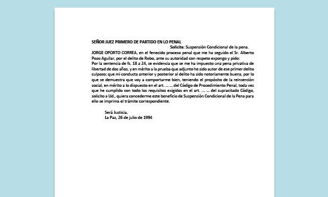 Formato de Memorial - Para solicitar Suspensión Condicional de Pena - Carrera de Derecho