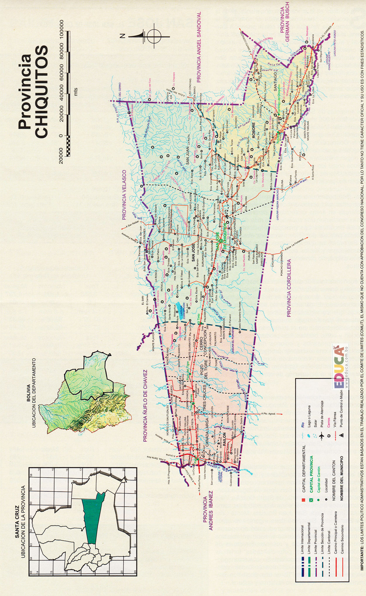 Provincia chiquitos mapa departamento de santa cruz Departamentos chiquitos