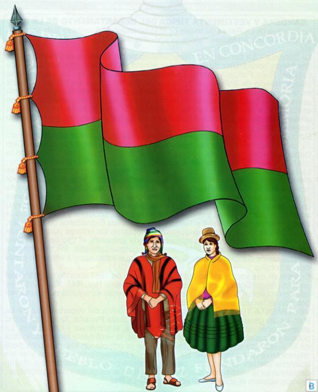bandera y vestimenta típica de la paz