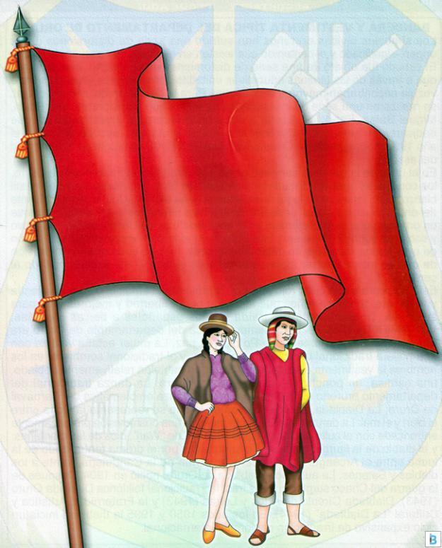 bandera y vestimenta típica de oruro