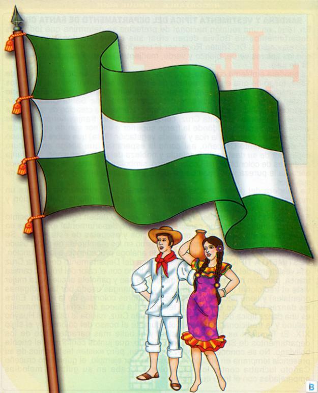 bandera y vestimenta típica de santa cruz