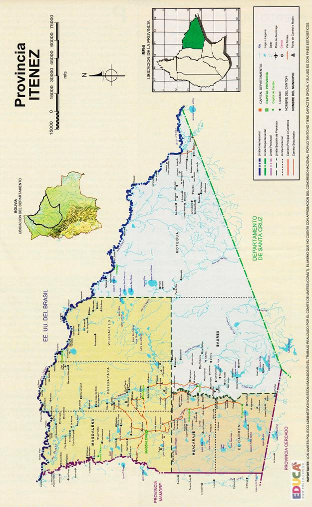 Mapa Provincia Iténez - Beni Bolivia