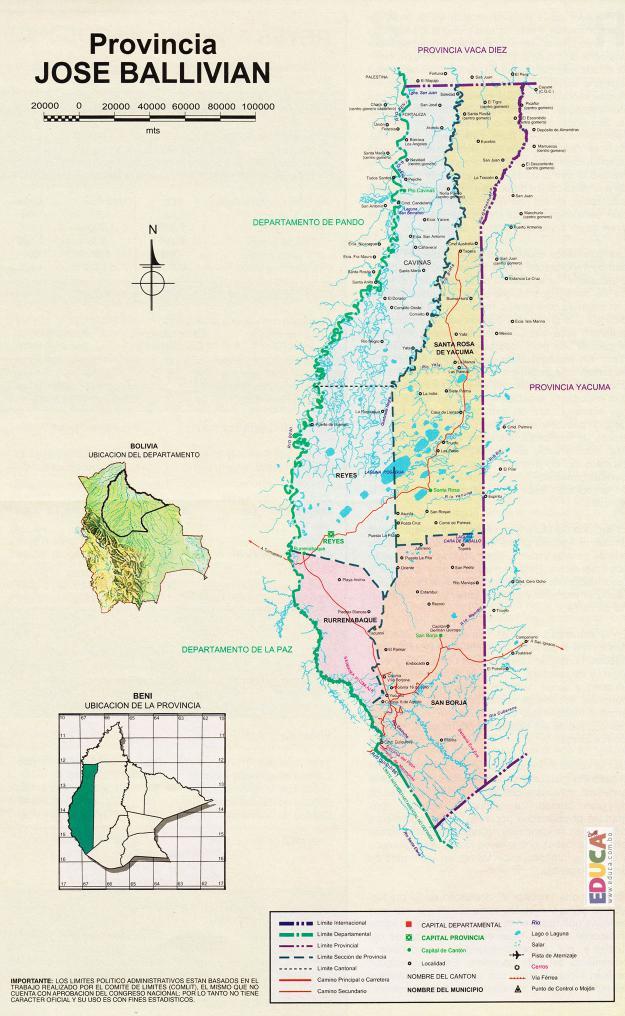 Mapa Provincia Gral José Ballivián - Beni Bolivia