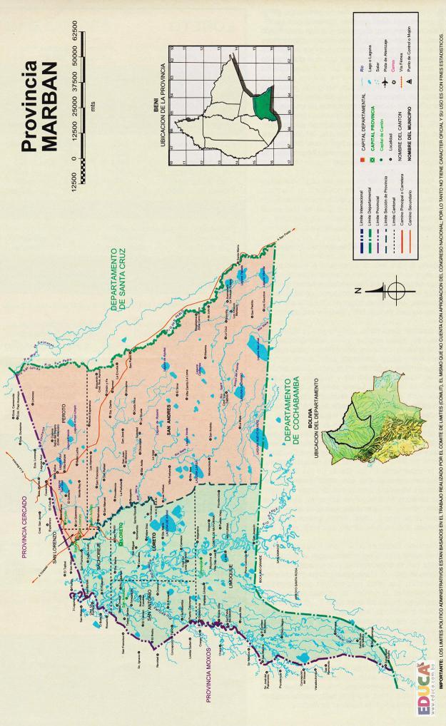 Mapa Provincia Marbán - Beni Bolivia