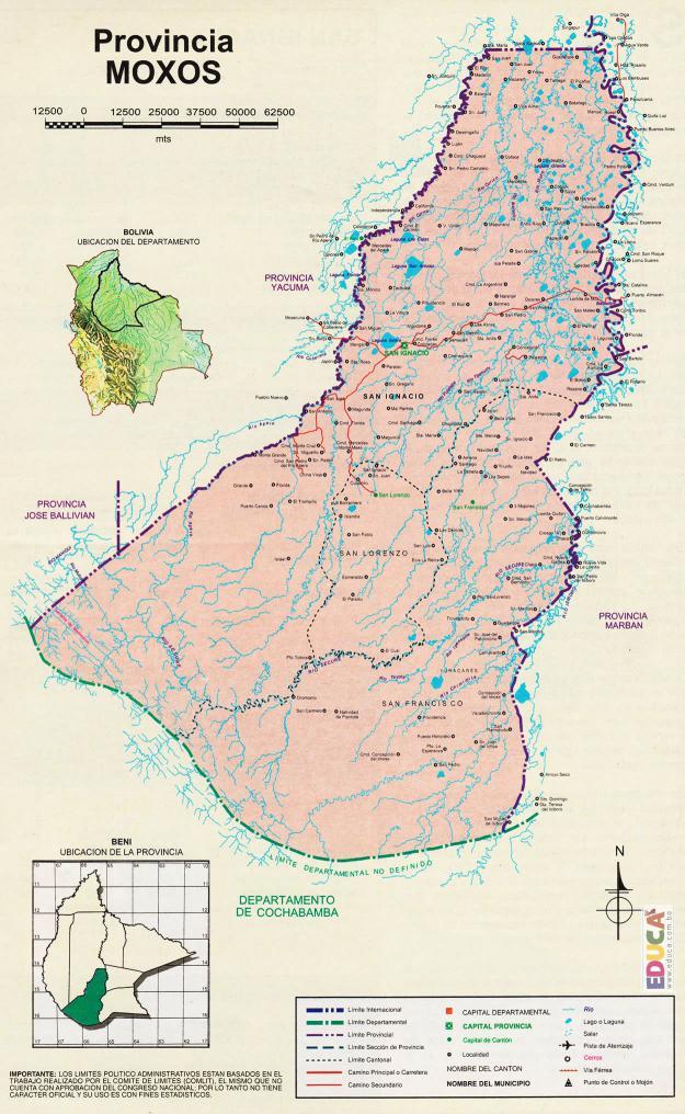 Mapa Provincia Moxos - Beni Bolivia
