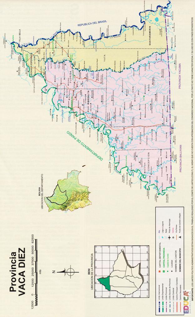 Mapa Provincia Vaca Díez - Beni Bolivia