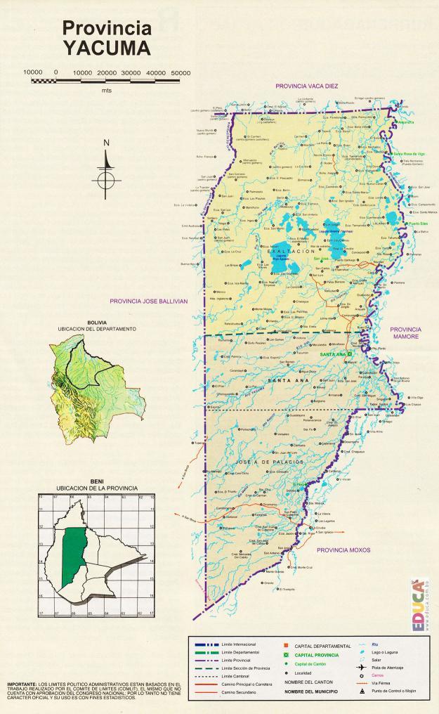 Mapa Provincia Yacuma - Beni Bolivia