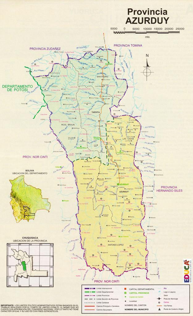 Mapa Provincia Azurduy Chuquisaca Bolivia