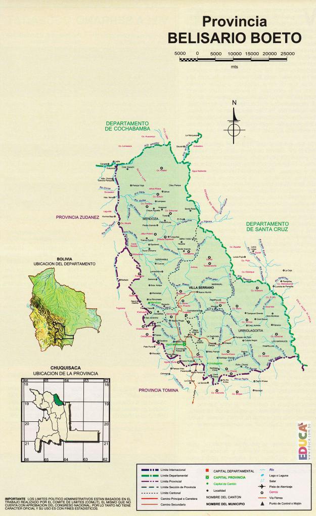 Mapa Provincia Belisario Boeto - Chuquisaca, Bolivia