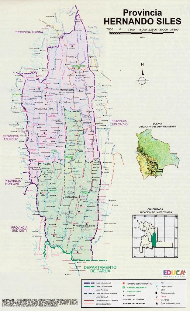 Mapa Provincia Hernando Siles - Chuquisaca