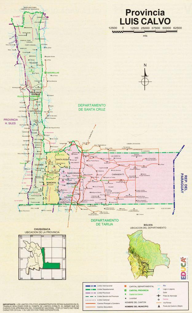 Mapa Provincia Luis Calvo - Chuquisaca Bolivia