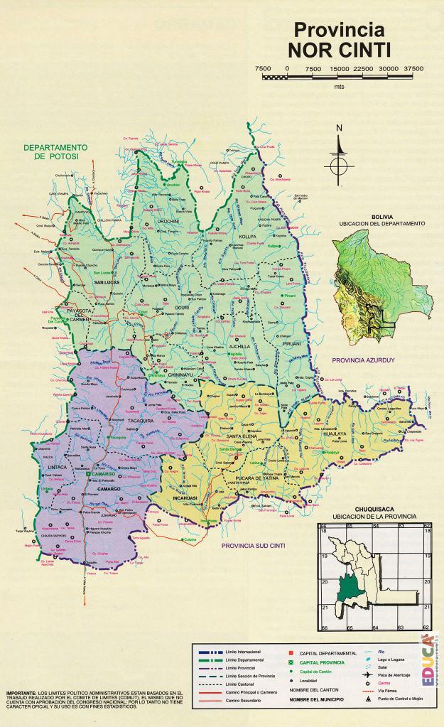 Mapa Provincia Nor Cinti - Chuquisaca Bolivia