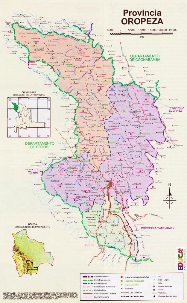 Mapa Provincia Oropeza Chuquisaca Bolivia