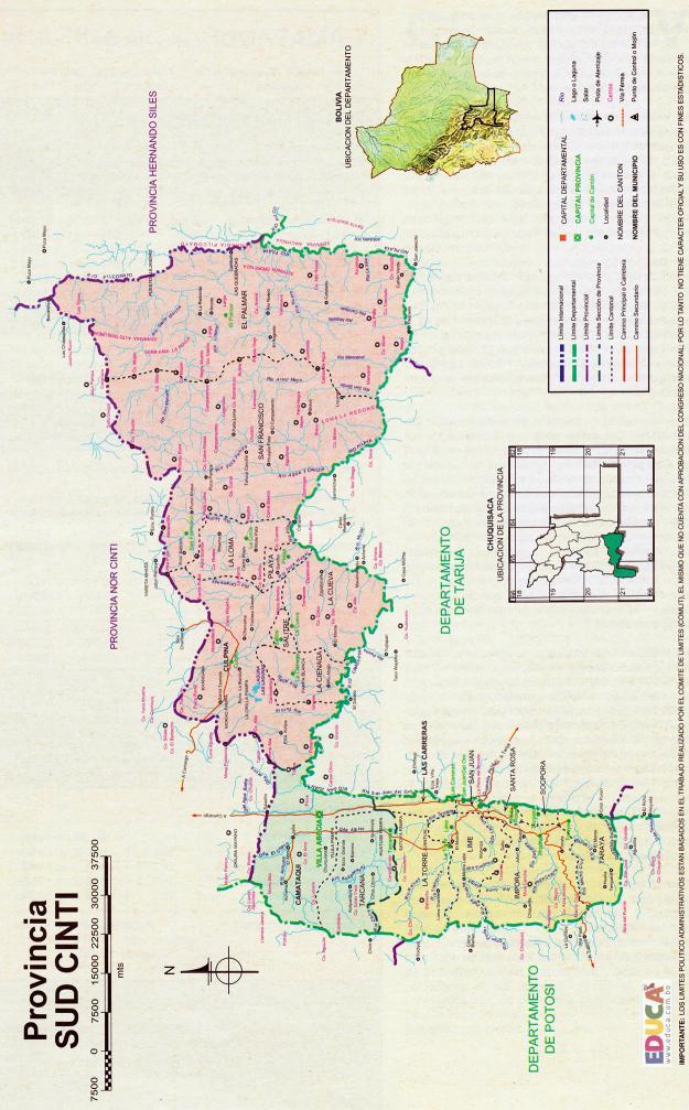 Mapa Provincia Sur Cinti - Chuquisaca Bolivia