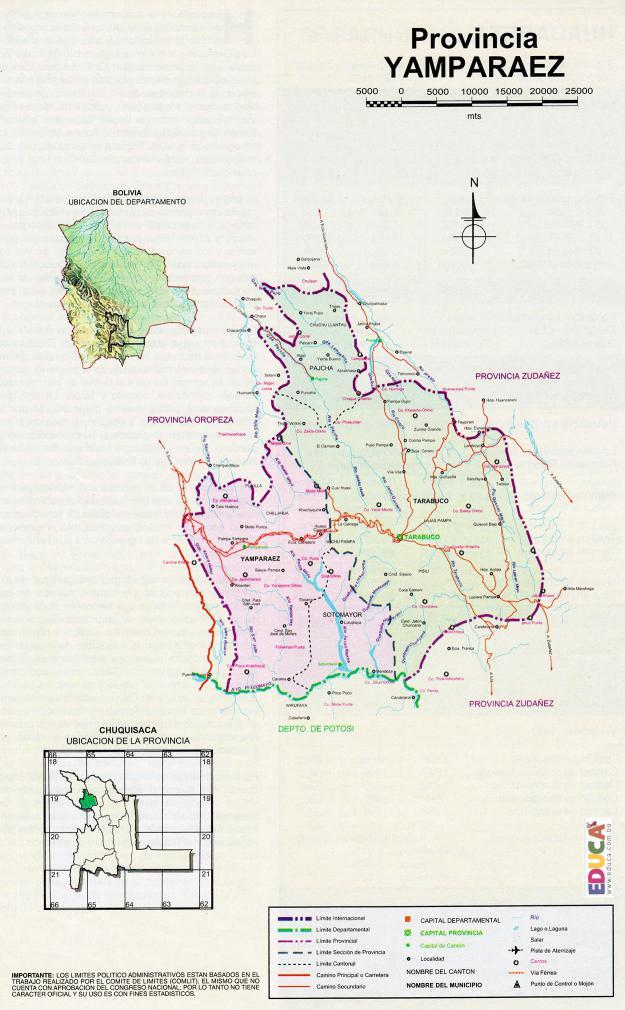 Mapa Provincia Yamparaez - Chuquisaca