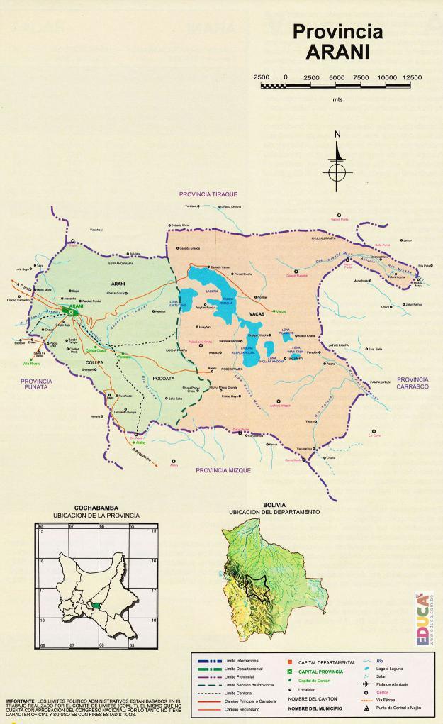 Mapa Provincia Arani - Cochabamba Bolivia