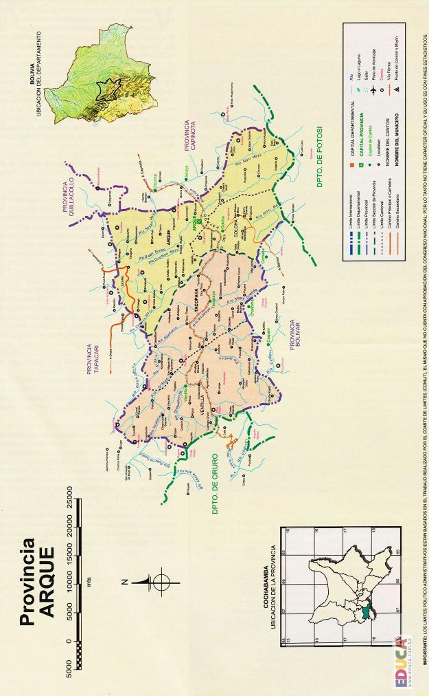 Mapa Provincia Arque - Cochabamba Bolivia
