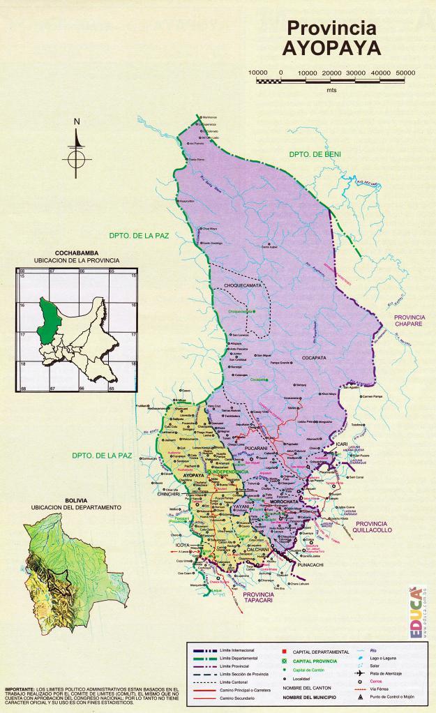 Mapa Provincia Ayopaya - Cochabamba Bolivia