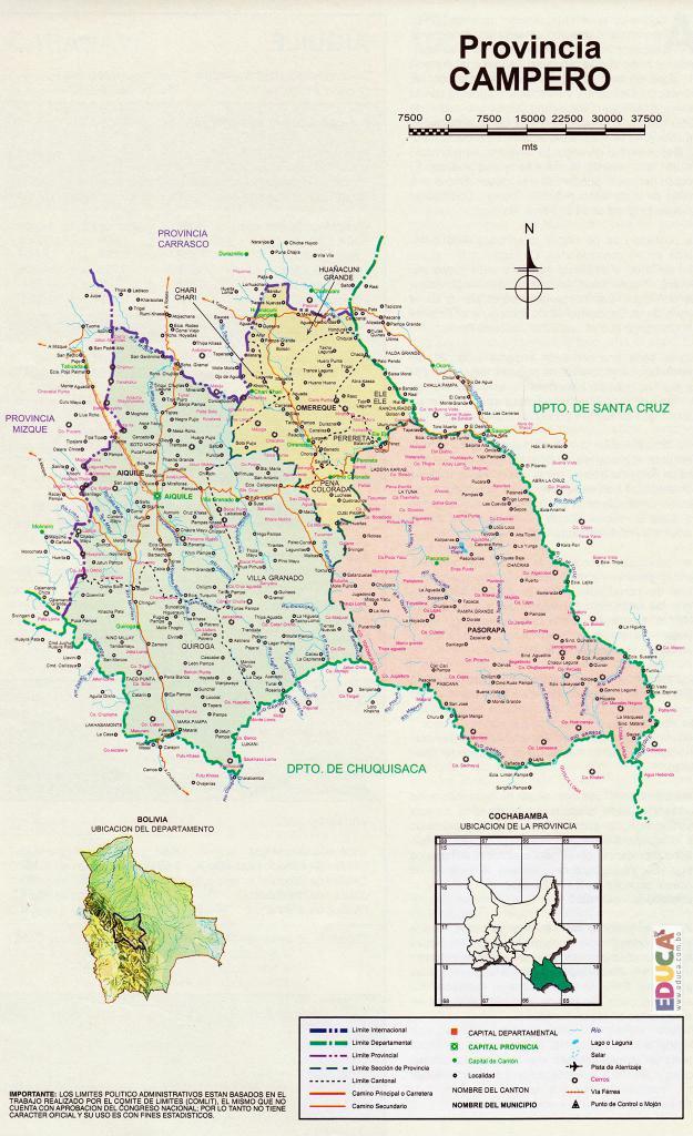 Mapa Provincia Campero - Cochabamba Bolivia