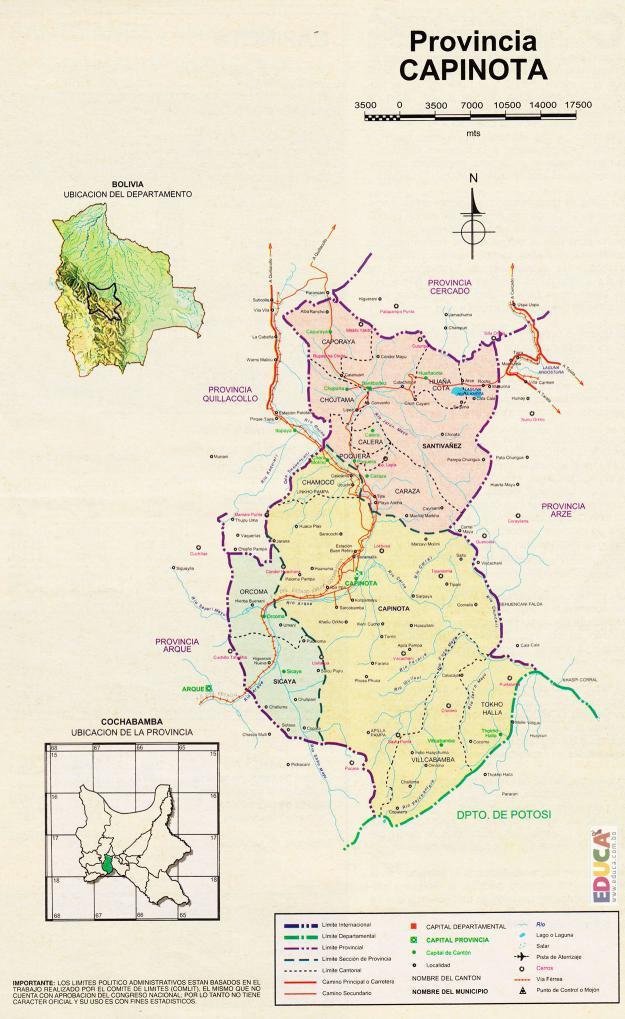Mapa Provincia Capinota - Cochabamba Bolivia
