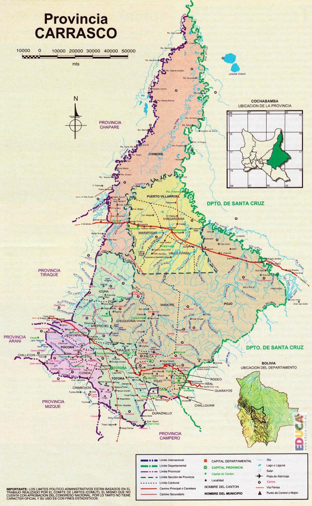 Mapa Provincia Carrasco - Cochabamba Bolivia