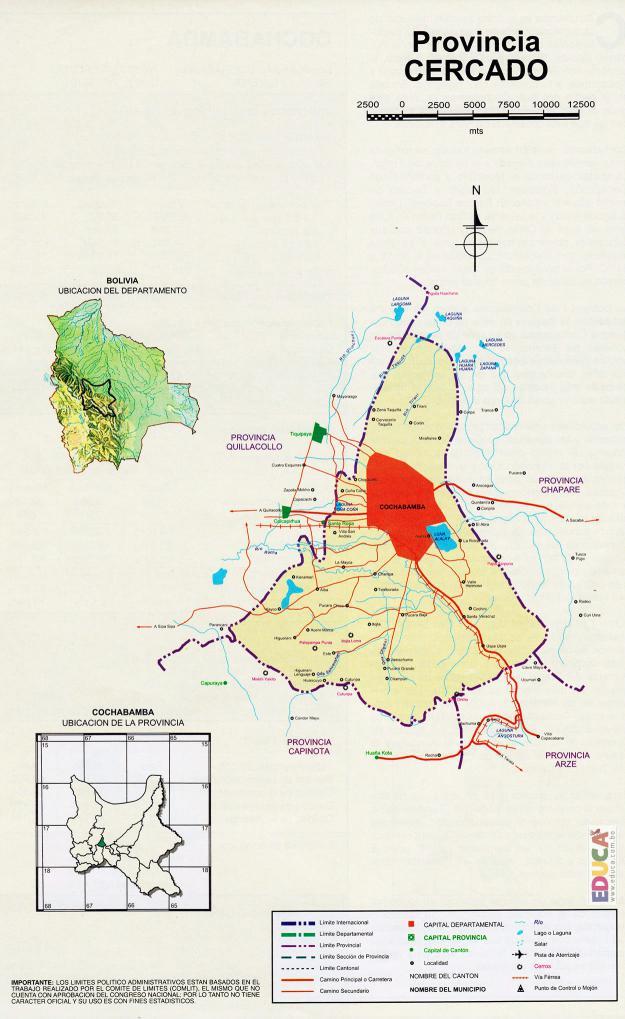 Mapa Provincia Cercado - Cochabamba Bolivia