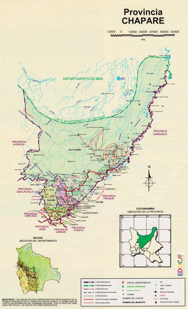 Mapa Provincia Chapare - Cochabamba Bolivia
