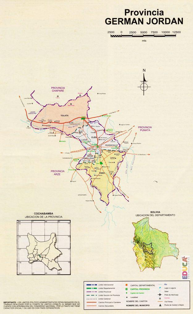 Mapa Provincia Germán Jordán - Cochabamba Bolivia