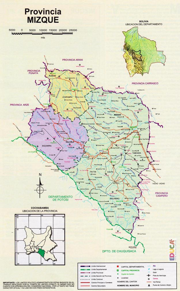 Mapa Provincia Mizque - Cochabamba Bolivia