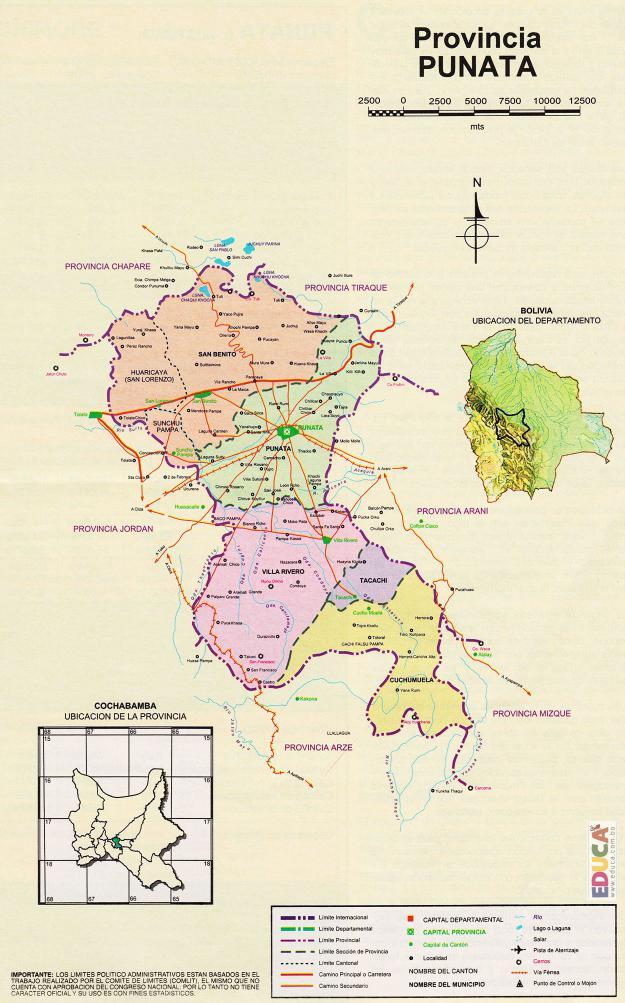 Mapa Provincia Punata - Cochabamba Bolivia