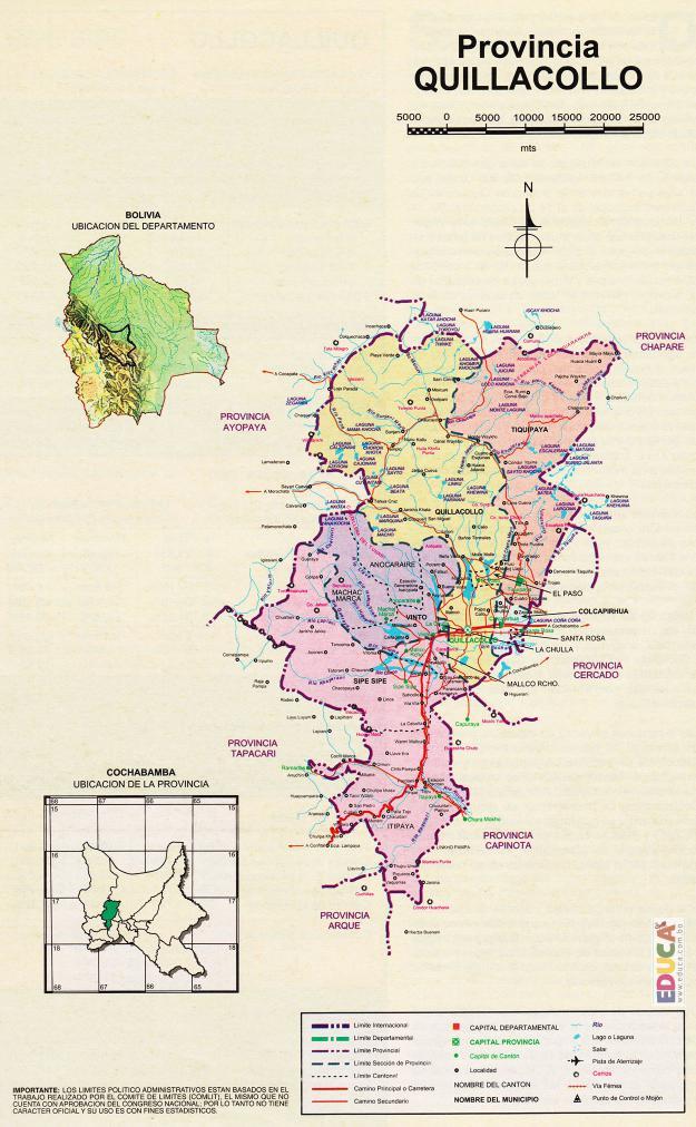 Mapa Provincia Quillacollo - Cochabamba Bolivia